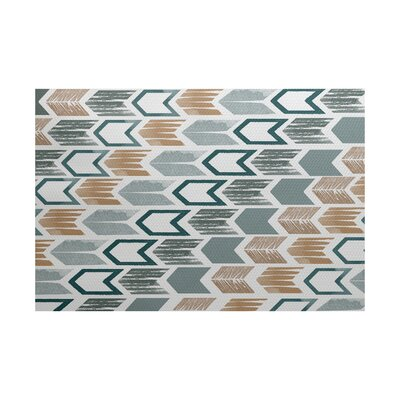 Waller Geometric Teal/Brown Area Rug Rug Size: 5 x 7