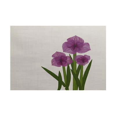 Amanda Amaryllis Floral Print Purple/Green Indoor/Outdoor Area Rug Rug Size: 5 x 7