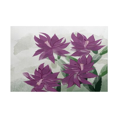 Amanda Christmas Cactus Floral Print Purple/Green Indoor/Outdoor Area Rug Rug Size: 5 x 7
