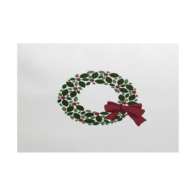 Holly Wreath White/Green Indoor/Outdoor Area Rug Rug Size: 2 x 3