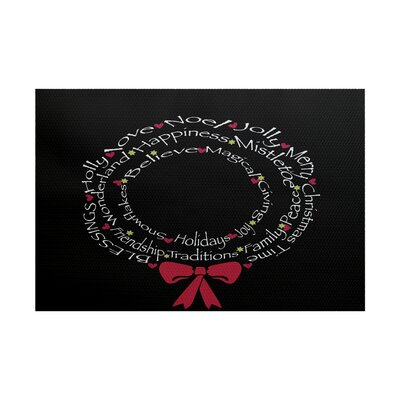 Wreath of Words Print Black Indoor/Outdoor Area Rug Rug Size: 3 x 5