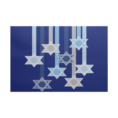 Shooting Stars Geometric Print Royal Blue/Gray Indoor/Outdoor Area Rug Rug Size: 5 x 7
