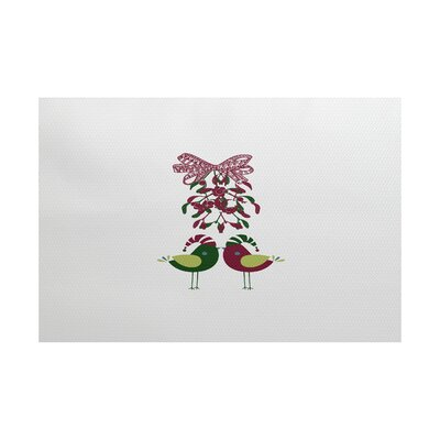 Love Birds Pink/Green Indoor/Outdoor Area Rug Rug Size: 5 x 7