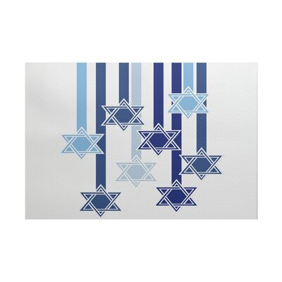 Shooting Stars Geometric Print White Indoor/Outdoor Area Rug Rug Size: 5 x 7