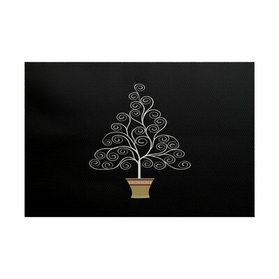 Filigree Tree Black Indoor/Outdoor Area Rug Rug Size: Rectangle 2 x 3