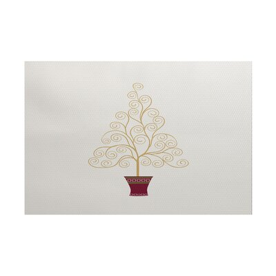 Filigree Tree Gold/Burgundy Indoor/Outdoor Area Rug Rug Size: 2 x 3
