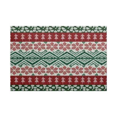 Fair Isle Red/Green Indoor/Outdoor Area Rug Rug Size: 5 x 7