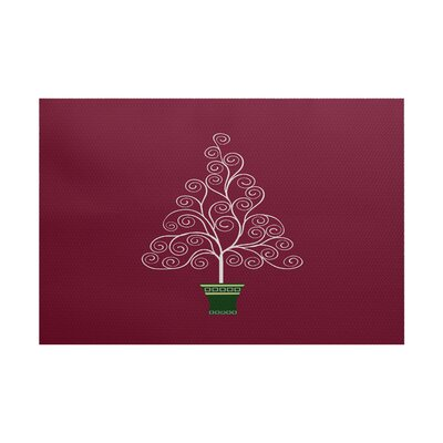 Filigree Tree Burgundy Indoor/Outdoor Area Rug Rug Size: 3 x 5