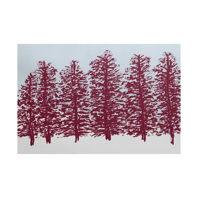 Joulon Hidden Forest Red/Blue Indoor/Outdoor Area Rug Rug Size: 3 x 5