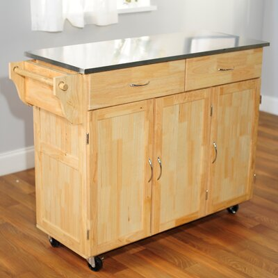 Urban Kitchen Island with Stainless Steel Top