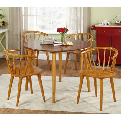 Florence 5 Piece Oak Dining Set Chair Finish: Oak