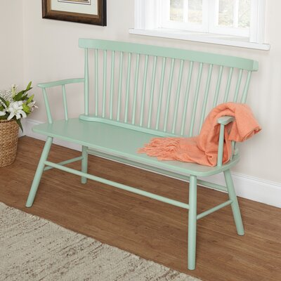 Shelby Rubber Wood Bedroom Bench Color: Mint
