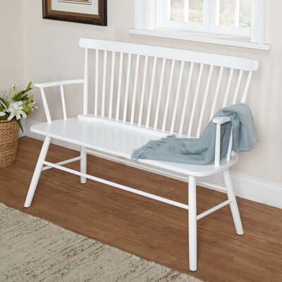 Shelby Rubber Wood Bedroom Bench Color: White