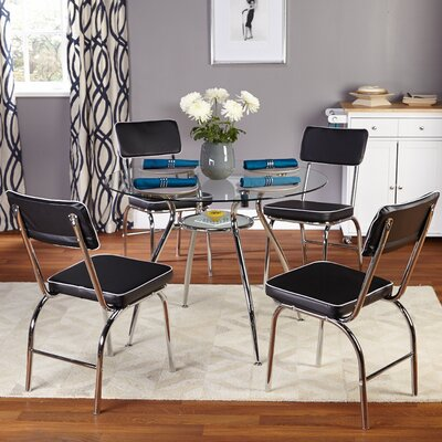 TMS Mable 5 Piece Dining Set - Finish: Black