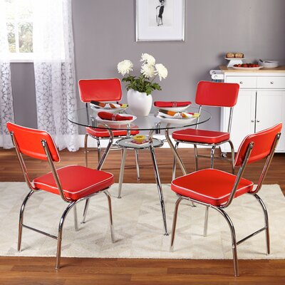 Mable 5 Piece Dining Set Finish: Red