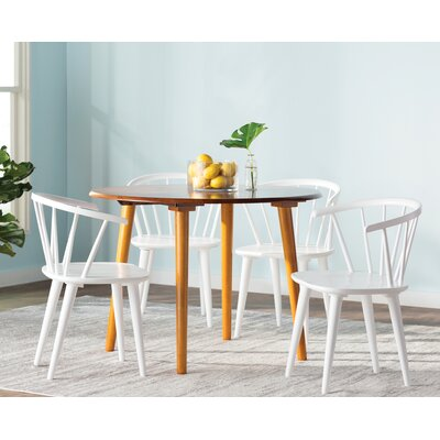 Florence 5 Piece Oak Dining Set Chair Finish: White