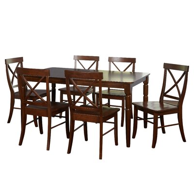 Brookwood 7 Piece Dining Set Table Color: Brown