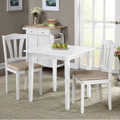 Dinah 3 Piece Dining Set Finish: White