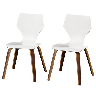 Asti Side Chair Finish: White/Walnut