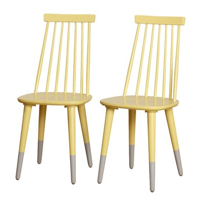 Angelo Home Hermosa Dining Chair Color: Yellow/Gray
