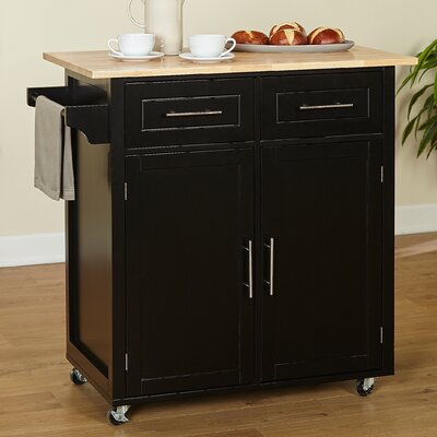 Larocca Kitchen Cart with Wood Top Base Finish: Black