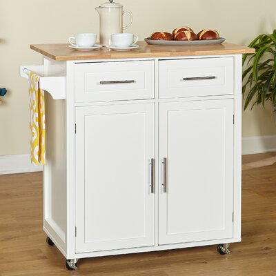 Larocca Kitchen Cart with Wood Top Base Finish: White