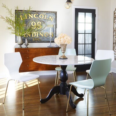 Angelo Home Ennis 5 Piece Dining Set Color: White/Gold