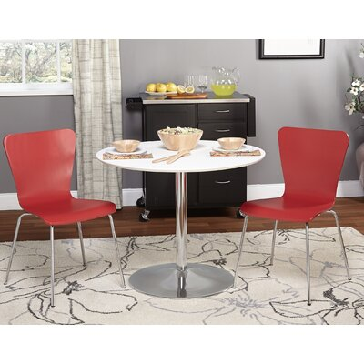 Theotis 3 Piece Dining Set Chair Color: Red