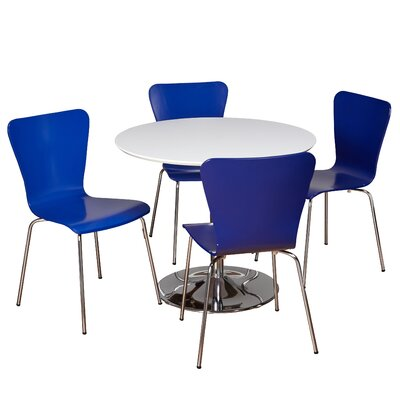 Theotis 5 Piece Dining Set Chair Color: Blue