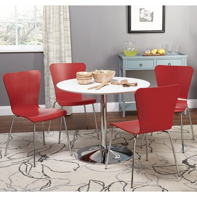 Theotis 5 Piece Dining Set Chair Color: Red