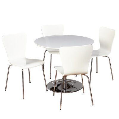 Theotis 5 Piece Dining Set Chair Color: White