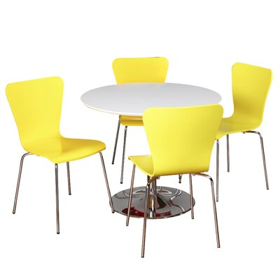 Theotis 5 Piece Dining Set Chair Color: Yellow