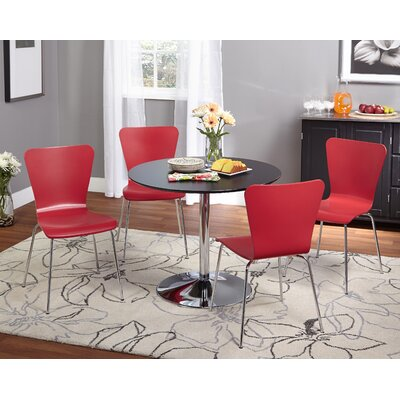 Saladino 5 Piece Dining Set Chair Color: Red