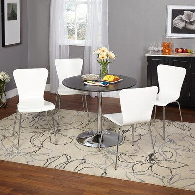 Saladino 5 Piece Dining Set Chair Color: White