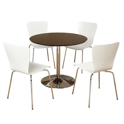 Salazar 5 Piece Dining Set Chair Color: White