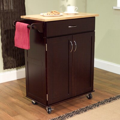Cheap TMS Kitchen Cart with Wood Top in Espresso (TXR1272)