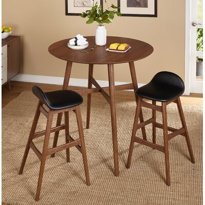 Tammy Mid Century 3 Piece Pub Table Set Upholstery Color: Black