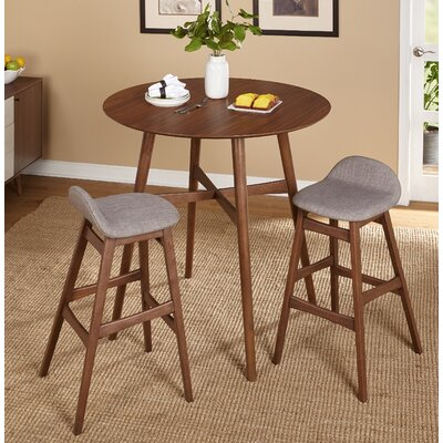 Tammy Mid Century 3 Piece Pub Table Set Upholstery Color: Gray