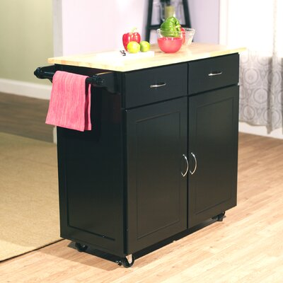 No credit financing Kitchen Cart Base Finish: Black...