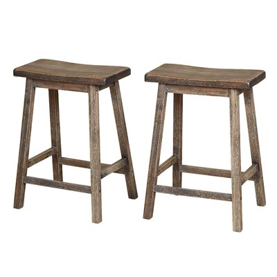 Wooden 24 Bar Stool Color: Weathered Gray