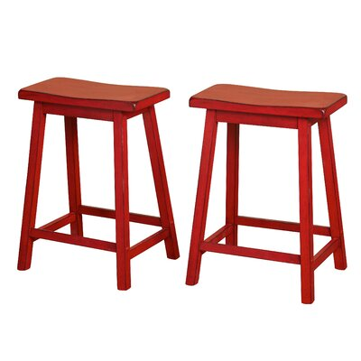 Wooden 24 Bar Stool Color: Distressed Red