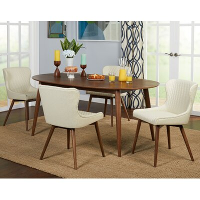 West Line 5 Piece Dining Set Chair Color: Cream