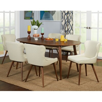 West Line 7 Piece Dining Set Chair Color: Cream