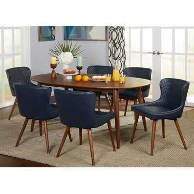 West Line 7 Piece Dining Set Chair Color: Navy