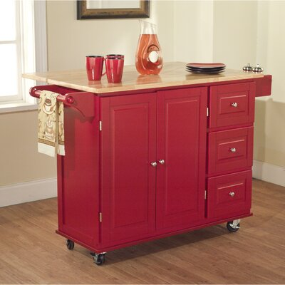 No credit financing Kitchen Cart Base Finish: Red...