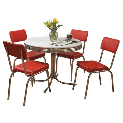 Retro 5 Piece Dining Set Upholstery: Red