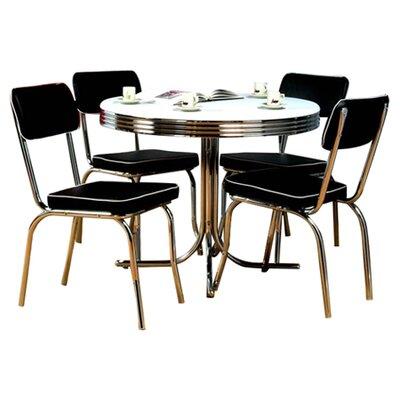 Retro 5 Piece Dining Set Upholstery: Black