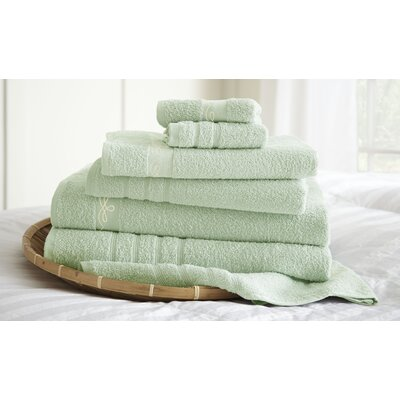 La Boheme Paris Embroidered 6 Piece Towel Set Color: Soft Jade