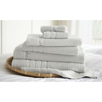 La Boheme Paris Embroidered 6 Piece Towel Set Color: White