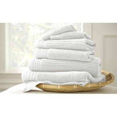 Casablanca Jacquard 6 Piece Towel Set Color: White